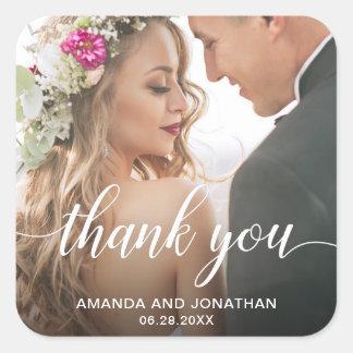 Adesivo Quadrado Obrigado moderno da foto do casamento você