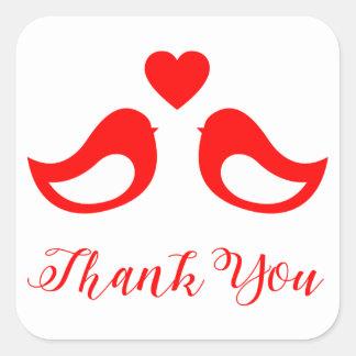 Adesivo Quadrado Obrigado o amor vermelho e branco dos Lovebirds