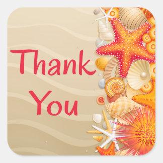 Adesivo Quadrado Obrigado o Seashell vermelho & alaranjado, estrela