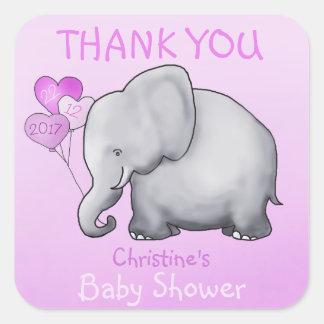 Adesivo Quadrado Obrigado que do chá de fraldas do rosa do elefante