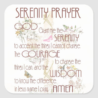 Adesivo Quadrado Oração da serenidade