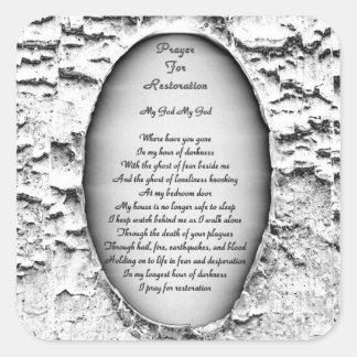 Adesivo Quadrado Oração para a restauração
