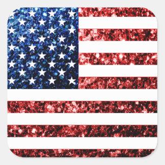 Adesivo Quadrado Os EUA embandeiram brilhos dos sparkles do