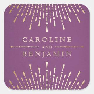 Adesivo Quadrado Ouro e monograma roxo do casamento vintage do art