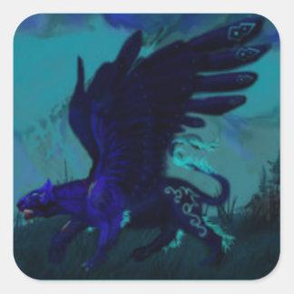 Adesivo Quadrado Pantera preta voada