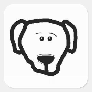 Adesivo Quadrado parte dianteira da cabeça de cão do algodão
