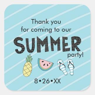 Adesivo Quadrado Partido do verão! Tema da praia do divertimento