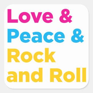 Adesivo Quadrado Paz & amor & rock and roll