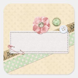 Adesivo Quadrado Pontos, botões & rosa Sewing do chique da fita