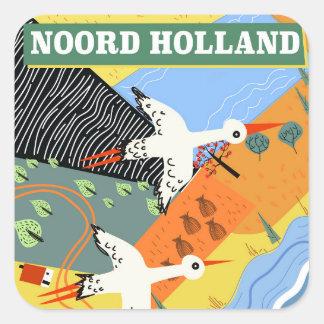Adesivo Quadrado Poster de viagens do estilo do vintage de Noord