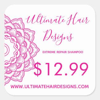 Adesivo Quadrado Preço cor-de-rosa da mandala