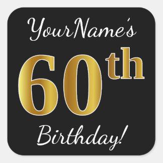 Adesivo Quadrado Preto, aniversário do ouro do falso 60th + Nome