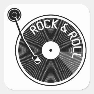 Adesivo Quadrado Registro de vinil preto e branco do rock and roll
