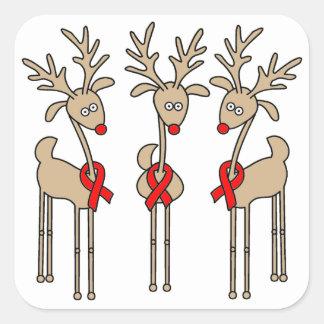 Adesivo Quadrado Rena vermelha da fita - AIDS & HIV