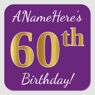 Adesivo Quadrado Roxo, aniversário do ouro do falso 60th + Nome