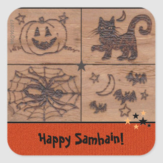 Adesivo Quadrado Samhain Prim remenda Woodburned retro