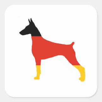Adesivo Quadrado silhueta da Alemanha-bandeira do pinscher do