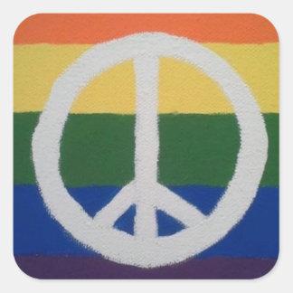 Adesivo Quadrado Sinal de paz do arco-íris