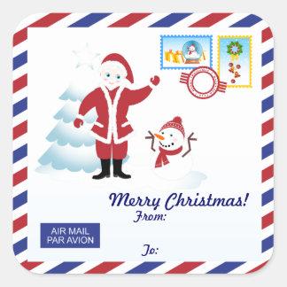 Adesivo Quadrado Snail mail de Papai Noel