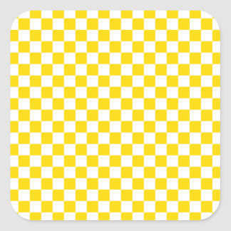 Adesivo Quadrado Tabuleiro de damas amarelo