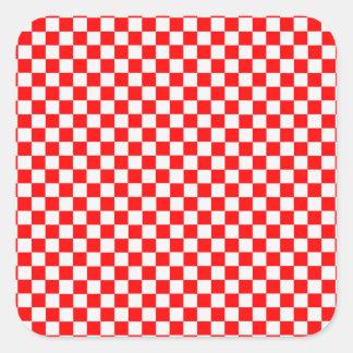 Adesivo Quadrado Tabuleiro de damas clássico vermelho e branco por