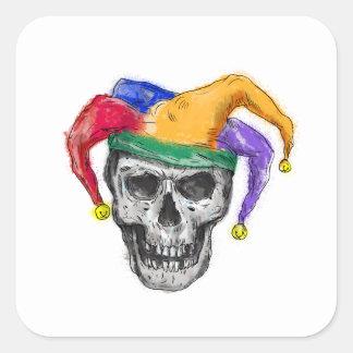 Adesivo Quadrado Tatuagem de riso do crânio do bobo da corte