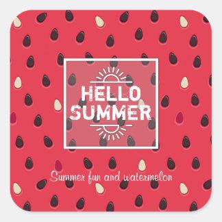 Adesivo Quadrado Teste padrão da melancia, horas de verão  