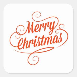 Adesivo Quadrado Tipografia alegre vermelha do Feliz Natal