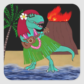 Adesivo Quadrado Ukulele havaiano do dinossauro