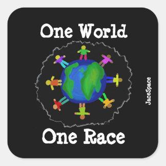 Adesivo Quadrado Um mundo, uma raça
