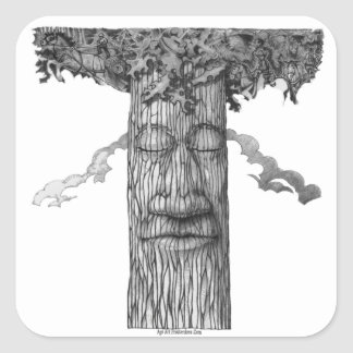 Adesivo Quadrado Um &W poderoso do cobrir da árvore