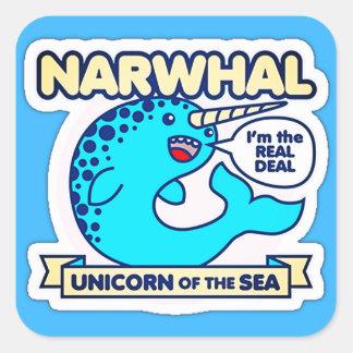 Adesivo Quadrado Unicórnio de Narwhal do mar
