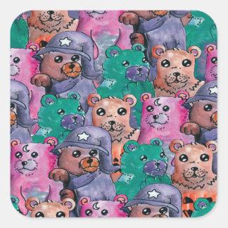 Adesivo Quadrado ursos de pelucia magicos