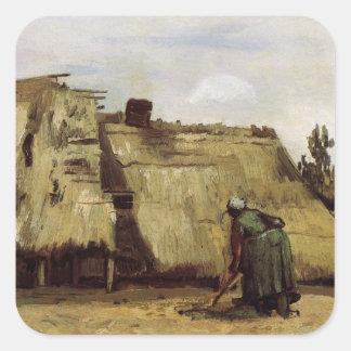 Adesivo Quadrado Van Gogh, mulher que escava, parte dianteira do