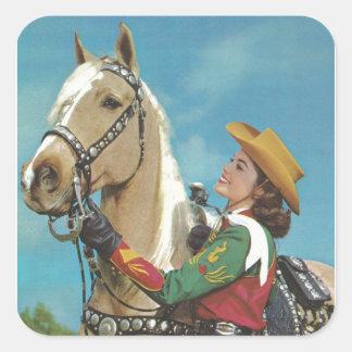 Adesivo Quadrado Vaqueira do vintage e cavalo ocidentais do