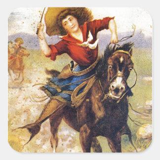Adesivo Quadrado Vaqueira ocidental do vintage no cavalo