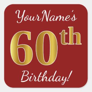 Adesivo Quadrado Vermelho, aniversário do ouro do falso 60th +