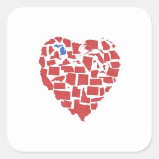 Adesivo Quadrado Vermelho de Michigan do mosaico do coração dos