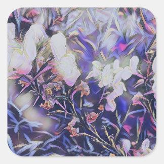 Adesivo Quadrado Wildflowers da primavera na coleção de papel malva