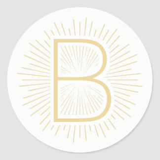 Adesivo Raios de brilho do ouro da letra do monograma do