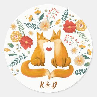 Adesivo Raposas românticas e casamento floral rústico da