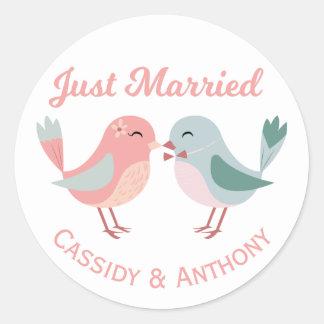 Adesivo Recem casados cor-de-rosa & Lovebirds azuis que