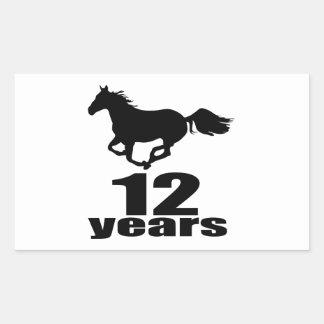 Adesivo Retangular 12 anos de design do aniversário