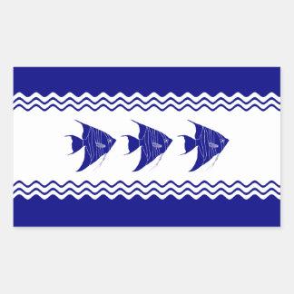Adesivo Retangular 3 Angelfish litorais do azul marinho e os brancos