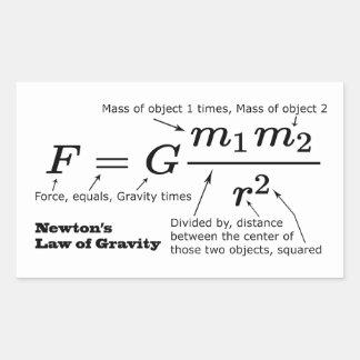Adesivo Retangular A lei de Newton da gravitação universal