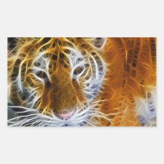 Adesivo Retangular Arte abstrata do fractal do retrato do tigre