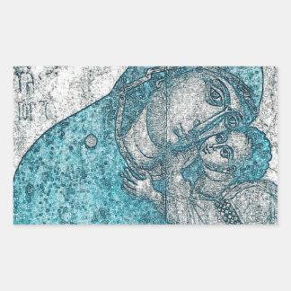 Adesivo Retangular Azul do vintage do retrato do anjo de Jesus do