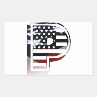 Adesivo Retangular Bandeira patriótica dos EUA da inicial do