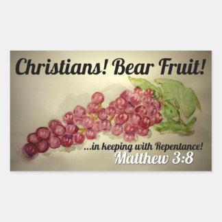 Adesivo Retangular Botão Wearable da fruta do urso dos cristãos