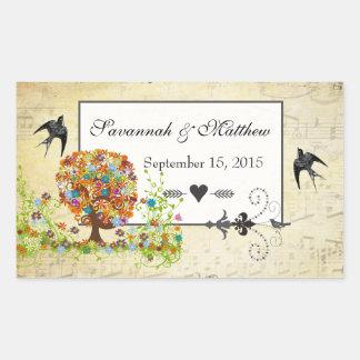 Adesivo Retangular Casamento Enchanted do ramo lateral da floresta